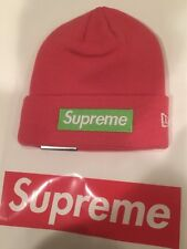 b82f2e24430 FW17 Supreme New Era Box Logo Beanie Magenta World Famous Unisex Winter  Knit Cap
