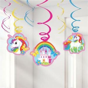 NEW Unicorn Hanging Swirl Decorations - 80cm (6pk) Partyware Gifts School