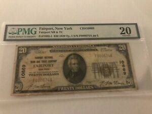 $20 1929 Fairport New York NY National Currency Bank  Ch. #10869 PMG 20 Stains