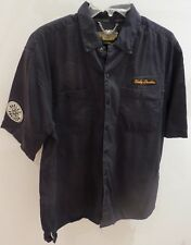 Harley Davidson Black Short Sleeve, Button Front Shirt, L, Patches, Embroidery