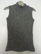 GIRLS GREY RIBBED HIGH NECK TOP 10-11 YEARS HOLIDAY SUMMER