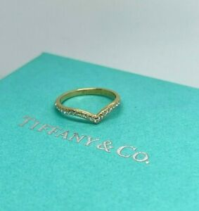 Tiffany & Co V Ring Yellow Gold 18k 750 Diamond Soleste Band Size 5.5