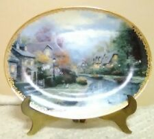 Thomas Kinkade Lamplight Brooke Collectible Plate Gold Trim w/Stand Holiday Xmas