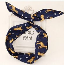 Navy Leopard Wire hairband bunny ear, flexible design easy to style