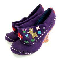 IRREGULAR CHOICE Purple Embroidered Felt Mushroom Wedge Heels Shoes 4 / 37 - T05