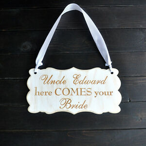 Personalized Wedding Sign, Custom Wooden Wedding Sign, Here Comes Your Bride
