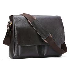 "Mens Genuine Leather Briefcases 13"" Laptop Shoulder Messenger Bags Brown Satchel"