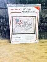 """Bucilla Creative Needlecraft #2084 """"Pledge Of Allegiance Cross Stitch 11x14"""" USA"""