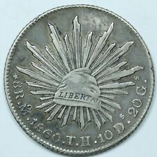 1860 Mo TH Mexico FIRST REPUBLIC 8 Reales Silver Coin