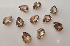 10 pieces 18 x 13mm Topaz Tear Drop Rhinestone Jewel, Gem with claw, Sew on