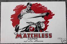 MATCHLESS PROSPEKT 1954 SUPER CLUBMAN G80S ENGLAND Motorrad Oldtimer
