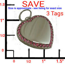 3 LRG  Personalized Bling Pink Silver Heart Pet ID Dog Tag Charm!FREE ENGRAVING!