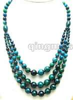 "SALE Big 4-12mm Round Dark Green Chrysocolla 3 string long 20"" Necklace-nec5702"