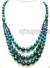 "SALE Big 4-12mm Round Dark Green Chrysocolla 3 string long 20"" Necklace-nec5702"