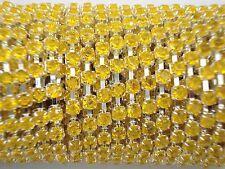 Acrylic 3mm Rhinestone Chain 1m Yellow/Silver Costume Sew Dance FREE POSTAGE