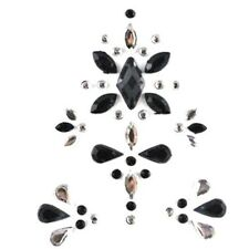 Geo Gems Face Jewel  Black & Silver Sticker Design 10 (7 cm x 5 cm)