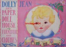 Vintage Uncut 1932 Dolly~Jean Her Paper Doll House Paper Dolls~#1 Reproduction
