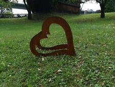 Edelrost holzsammler rost brennholzsammler Regal Herz liegend klein
