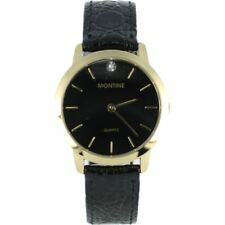 Men's Montine Elegant Gold Plated Black Dial Round Leather Strap Watch Gemmed
