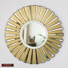"Accent Gold Round Wall Mirror 19.7"", Bronze Leaf wood Mirrors for wall from Peru"