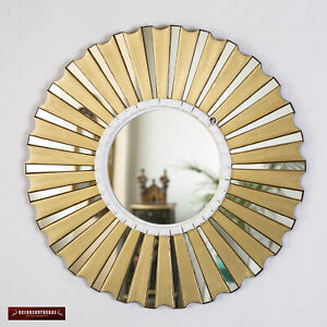 """Accent Gold Round Wall Mirror 19.7"""", Bronze Leaf wood Mirrors for wall from Peru"""