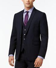 Bar III 3 Extra Slim Fit 2 PC Suit 40l / 33w Navy Blue Flat Pant Wool