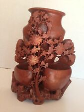 "Antique Chinese Carved Stone  Vase Bird & Flowers LARGE 9"" x 7"" 5lbs!"