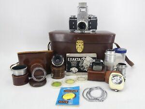 Exakta Jhagee / Ihagee Varex VX 35mm Camera w/ Manual Lenses Accessories & Case