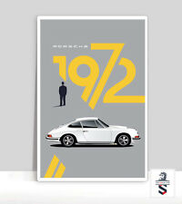 "1972 Porsche 911 White Poster. Porsche Poster Garage Aluminum poster 18 ""x 24"""