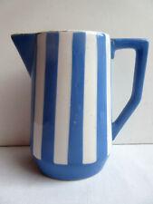 French blue and white ceramic MILK JUG signed Sarreguemines model Fox Trott 5/5