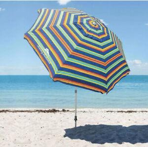 Tommy Bahama 8' Beach Umbrella with Tilt and Sand Anchor Green Blue Stripes
