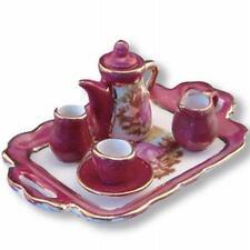 Reutter Porzellan Teeservice Rot Lüster / Tea Set Red Luster Puppenstube 1:12