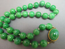 "Vintage Jade Green Bead Necklace Hand Knotted 18"" Long Medium Swirls"
