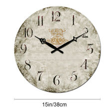 "15"" Large Wooden Wall Clocks Room Home Silent Decor Retro Clock Antique European"
