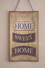 PIASTRA a parete HOME SWEET HOME metallo Curvo Appeso segno Marrone Tan 47cm LG SG1260