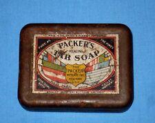 VTG Rustic Healing PACKER'S TAR SOAP Tin Box/Can MYSTIC CONN Primitive!