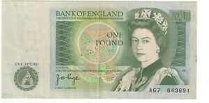 Page Pound £1 Banknote A67 First Run 1978