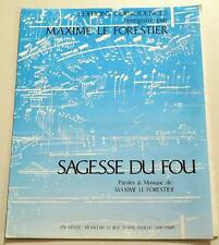 Partition vintage sheet music MAXIME LE FORESTIER : Sagesse du Fou * 90's