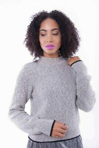Womens High Neck Knitted  Ladies White Long Sleeve Winter Warm Sweater Blouse
