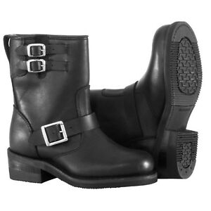 NOS RIVER ROAD 098253 TWIN BUCKLE ENGINEER BOOTS BLACK SIZE WOMENS 10