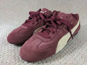 RARE PUMA Speed Cat Women's Suede SIZE 8 Lace Up maroon Racing Shoes Sneakers