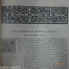 Robben Island Leper Colony Lepers Harrow School History Athletics Article 1891