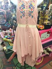 Embroidered lace Summer Hanky Hem Long Back Pink Dresses  Dress Romantic Small S