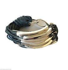 Grey Multi Cord Bracelet With Silver Tone Metal Tubes Tribal Ethnic Bangle