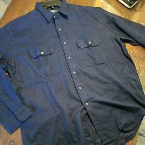 POLO by Ralph Lauren Solid Blue Flannel Button Down G.I. Shirt Men's XL