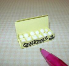 """Miniature YELLOW Egg Carton w/White Bead """"Eggs"""": DOLLHOUSE 1/12 Scale"""