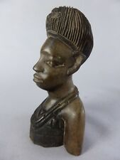 JOLI BUSTE FEMME AFRICAINE EN BOIS SCULPTE RDC CONGO ART TRIBAL ART AFRICAIN