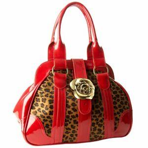 Womens Designer Red Leather Handbag Leopard Print Pony Skin Tote Bag