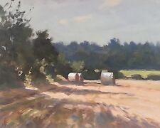 NUOVO Originale Michael Richardson VUOTI nella siepe fieno ROTOLI Paese dipinto ad olio