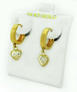 WHITE SAPPHIRES 0.80 Cts HUGGIES EARRINGS 14K YELLOW GOLD *New With Tag*